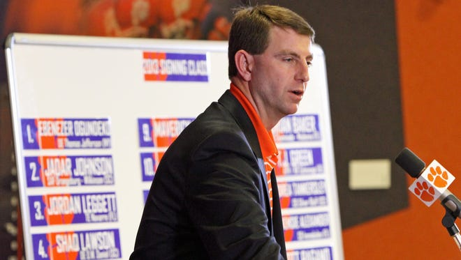 Clemson head football coach Dabo Swinney discusses the 2013 recruiting class that signed with the Tigers during a news conference on national signing day Feb. 6. The NCAA on Thursday announced it was pulling back on some aspects of recruiting deregulation that it had approved in January.
