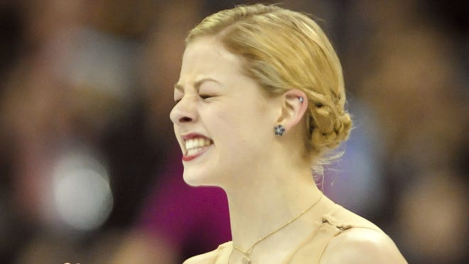 Gracie Gold reacts after her free skate at the 2013 US Figure Skating Championships at the CenturyLink Center in Omaha on Jan. 26.