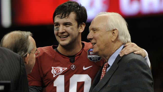 AJ McCarron was all smiles after winning a second consecutive national championship in a win against Notre Dame.