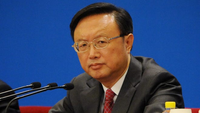 Chinese foreign minister Yang Jiechi attends a press conference at the Great Hall of the People in Beijing on March 9.