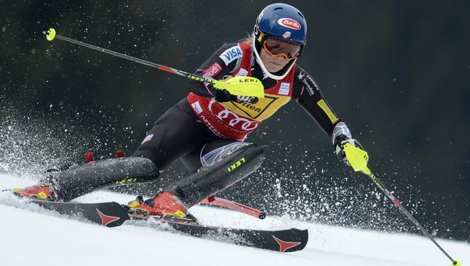 Mikaela Shiffrin competes in the FIS World Cup Women's Slalom competition in Ofterschwang, southern Germany, on Sunday. She was the fastest in the first run but finished third.