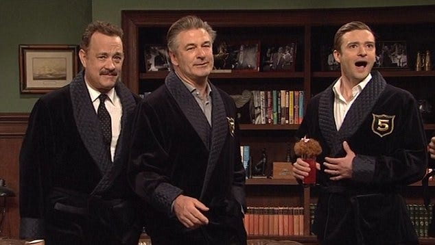 Tom Hanks, left, and Alec Baldwin join host Justin Timberlake in the Five Timers sketch on 'SNL.'