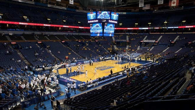 The scene at the Scottrade Center in St. Louis moments before Missouri Valley Conference basketball fan Alex Permann competed in a $50,000 shooting contest that had its highs and lows.