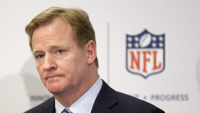 NFL Commissioner Roger Goodell takes questions during an NFL football news conference in New York, Monday, March 11, 2013. The NFL is partnering with private companies as well as the U.S. Military to further research on head injuries.