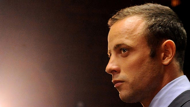In this photo taken Feb. 22, Oscar Pistorius, appears in court in Pretoria, South Africa, for his bail hearing.