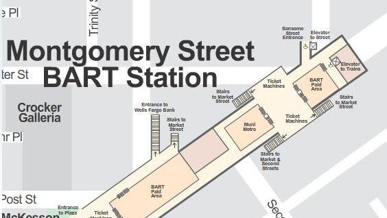 A man sleeping atop an elevator car was crushed to death at the Montgomery Street BART station in San Francisco's financial district Sunday night.