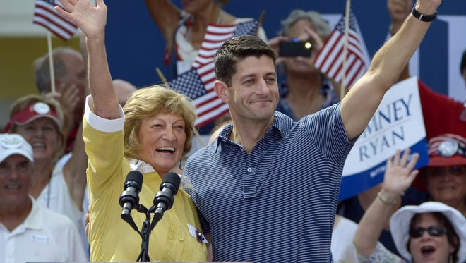 Republican vice presidential candidate Paul  Ryan and his mother, Betty Ryan Douglas, at a campaign rally in The Villages, Fla., last August.