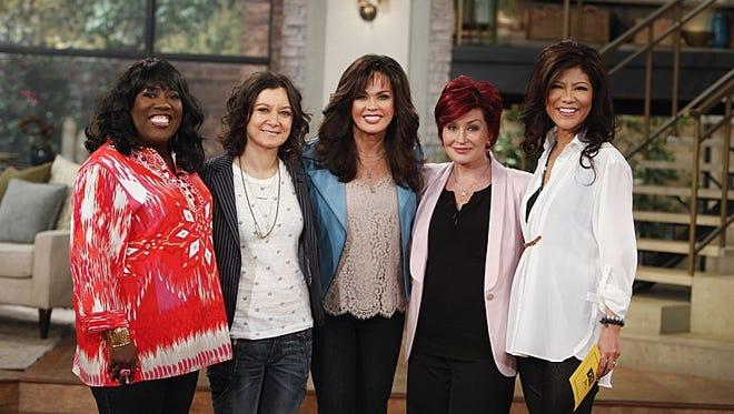 Singer Marie Osmond guest co-hosts on 'The Talk' today. From left: Sheryl Underwood,  Sara Gilbert, Marie Osmond, Sharon Osbourne and Julie Chen.