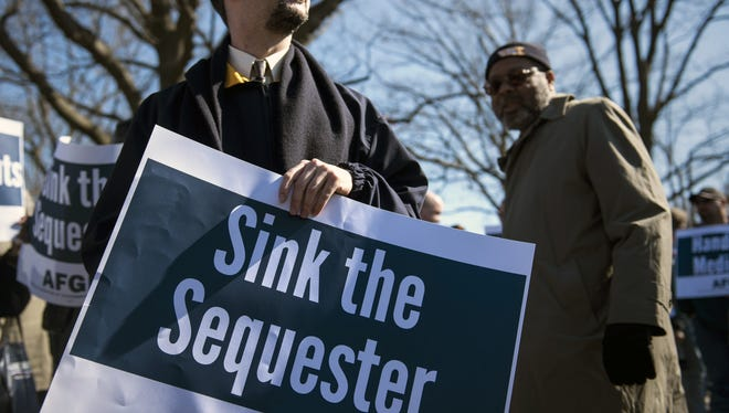 A rally on Capitol Hill last month against automatic spending cuts.