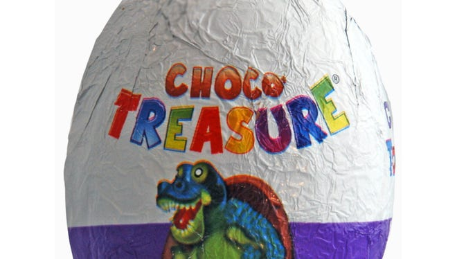 The Choco Treasure egg contains a toy at the center of the chocolate.