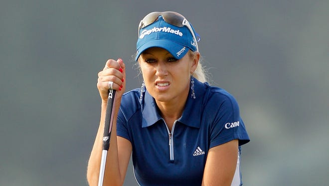 Natalie Gulbis looks over a birdie putt on the third hole during the second round of the 2010 U.S. Women's Open at Oakmont Country Club.