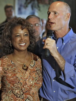 Former Lt. Gov. Jennifer Carroll and Gov. Rick Scott during a campaign stop in New Port Richey, Fla. before they were elected in 2010. Carroll abruptly resigned March 13, 2012,  after authorities questioned her ties to internet cafes that authorities say are fronts for gambling.