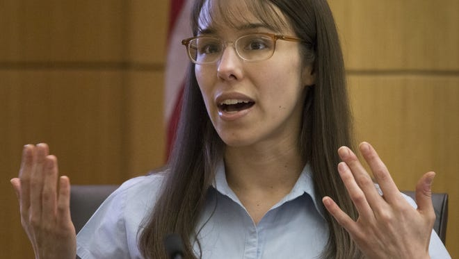 Defendant Jodi Arias testifies in her murder trial in Judge Sherry Stephens' Superior Court, on Wednesday, March 13, 2013.