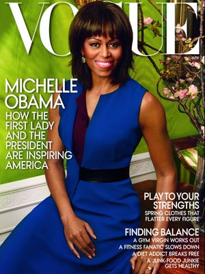 First lady Michelle Obama  is on the cover of the 'Vogue' April issue.