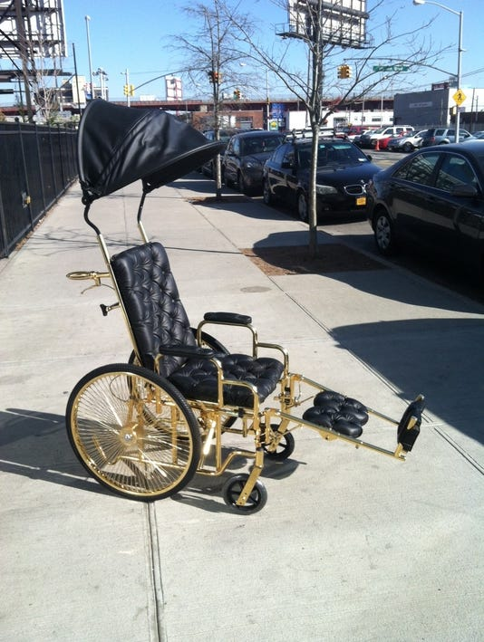 Lady Gaga gets a gold wheelchair