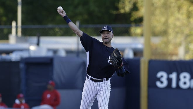 Derek Jeter played the field Wednesday night for the first time since breaking his left ankle.