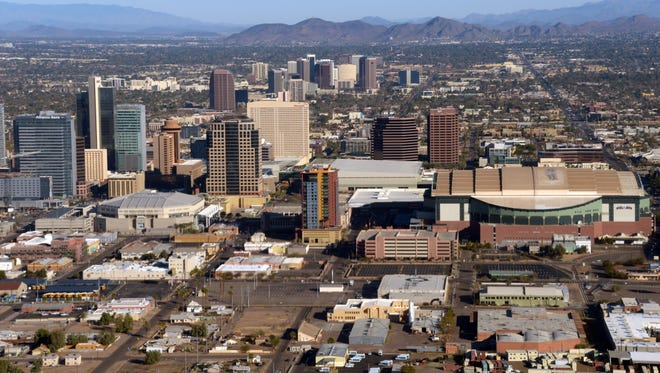 An aerial view of the downtown Phoenix skyline.