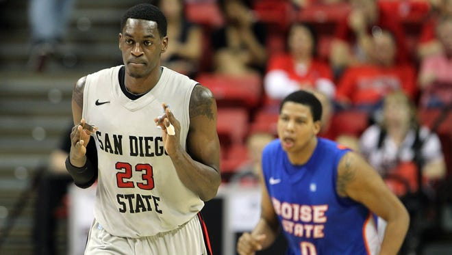 San Diego State's DeShawn Stephens gestures after sinking a 3-point basket during the first half of a Mountain West Conference tournament game against Boise State in Las Vegas.