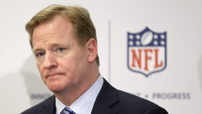 NFL Commissioner Roger Goodell takes questions during an NFL football news conference in New York.