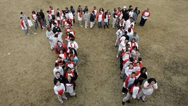 Students from the Maurice J. Tobin School in Boston make a human pi symbol on Tuesday, March, 13, 2007, during a celebration of Pi Day.