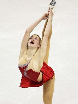 Gracie Gold (USA) skates during the short program at the World Figure Skating Championships in London, Ontario, on Thursday.