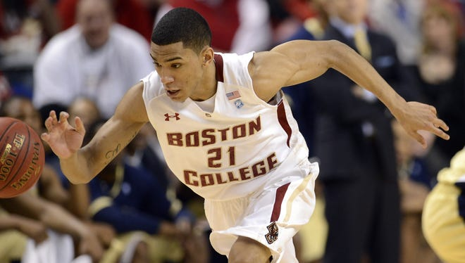 Boston College guard Olivier Hanlan (21) breaks away up the court against Georgia Tech during the first round of the ACC tournament at Greensboro Coliseum. Hanlan rallied the Eagles from an early deficit with 41 points in a victory.