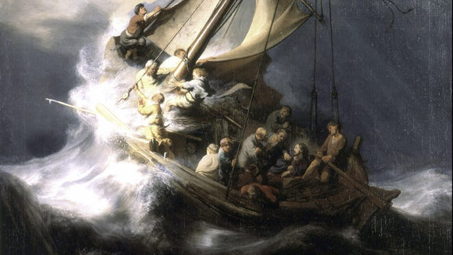 """This undated file photograph released by the Isabella Stewart Gardner Museum shows the painting """"The Storm on the Sea of Galilee,"""" by Rembrandt, one of more than a dozen works of art stolen by burglars in the early hours of March 18, 1990. The FBI said Monday, March 18, 2013, it believes it knows the identities of the thieves who stole the art.105"""