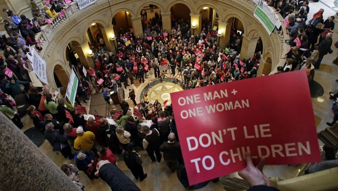 Opponents of a bill to legalize gay marriage in Minnesota gathered in the State Capitol Thursday in St. Paul.