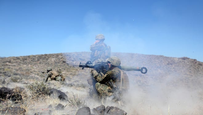Marines participate in a training exercise in 2010 at the Hawthorne Army Depot in Nevada. At least seven Marines were killed Monday night when a mortar exploded during training.