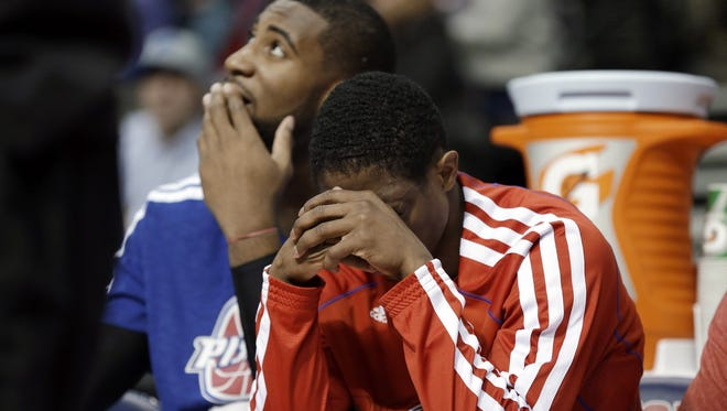 Detroit Pistons guard Brandon Knight, right, and center Andre Drummond, left, have no timetable yet for their return.