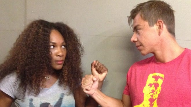 Serena Williams with hitting partner and friend Sascha Bajin.