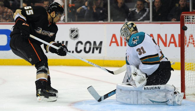 Anaheim Ducks right wing Emerson Etem scores a goal on San Jose Sharks goalie Antti Niemi during the second period at the Honda Center.