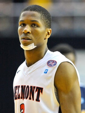 Belmont Bruins guard Kerron Johnson (3) during the championship game of the Ohio Valley Conference tournament against the Murray State Racers at Nashville Municipal Auditorium.