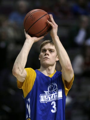 South Dakota State guard Nate Wolters shoots during practice at the NCAA college basketball tournament at The Palace in Auburn Hills. South Dakota State plays Michigan on Thursday in the second round.