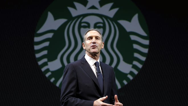 Starbucks CEO Howard Schultz speaks at the company's annual shareholders meeting on Wednesday in Seattle.