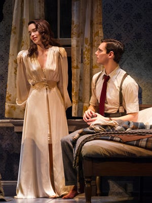 "Emilia Clarke and Cory Michael Smith in a scene from ""Breakfast at Tiffany's"" on Broadway."