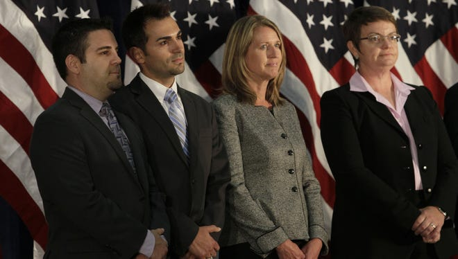 From left: Jeff Zarrillo, Paul Katami, Sandy Stier and Kris Perry have spent four years fighting California's ban on  same-sex marriage in court, a battle that will culminate Tuesday in the U.S.  Supreme Court.