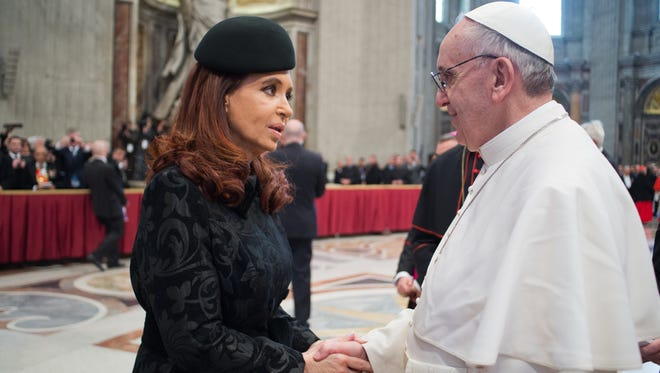 Pope Francis, shown here greeting Argentine President Cristina Fernandez de Kirchner, opposed Argentina's same sex marriage law and briefly suggested civil unions instead.
