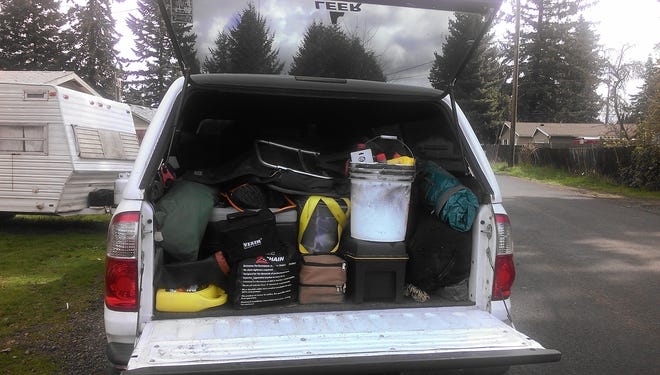 Tom Nelson's truck is always stocked with enough gear for two people to survive about two weeks.