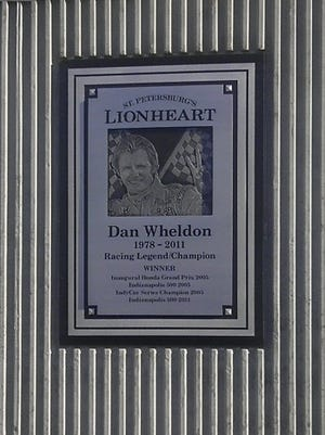 "A permanent structure memorializing Dan Wheldon, nicknamed ""Lionheart,"" was unveiled in St. Petersburg, Fla., on Thursday."
