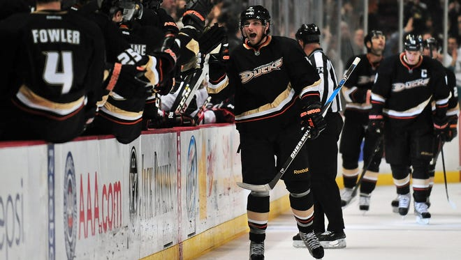 Anaheim Ducks right wing Bobby Ryan (9) celebrates after scoring a goal against the Chicago Blackhawks during the third period at Honda Center.