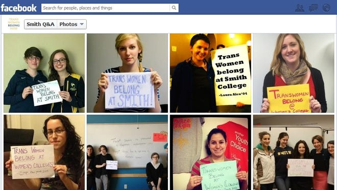 A Facebook group called Smith Q&A is posting photos of women posing with signs supporting Calliope Wong, a rejected transgender applicant .