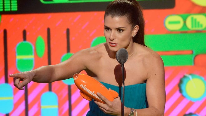 NASCAR driver Danica Patrick accepts Favorite Female Athlete onstage during Nickelodeon's 26th Annual Kids' Choice Awards at USC Galen Center.