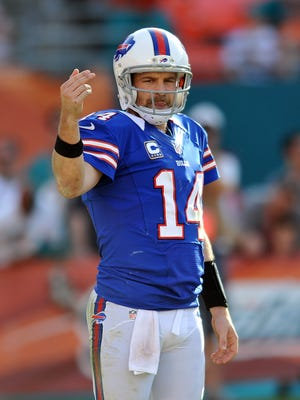 Buffalo Bills quarterback Ryan Fitzpatrick (14) during the second half against the Miami Dolphins at Sun Life Stadium.