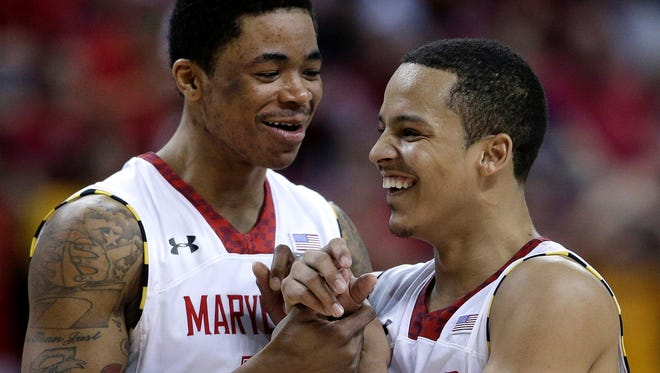 Nick Faust, left, and Seth Allen and the Maryland Terrapins are aiming to make the program 3-0 all-time in NIT quarterfinals. The Terps last reached the NIT semifinals in 2005.
