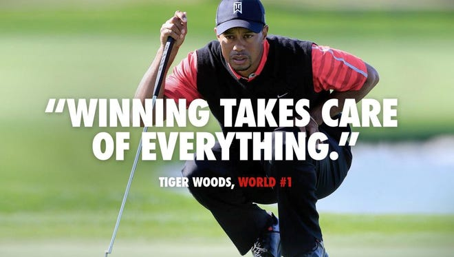 """Nike is causing a social media storm with its latest online ad showing a picture of Tiger Woods overlaid with a quote from him, """"Winning takes care of everything."""" Woods has used the phrase with reporters since at least 2009 when they ask him about rankings."""