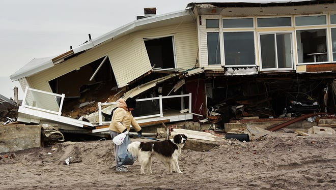 A woman walks with her dog by homes damaged by Superstorm Sandy on January 15, 2013.