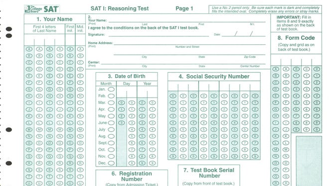 A 2002 SAT test booklet -- to be used only with a No. 2 pencil.