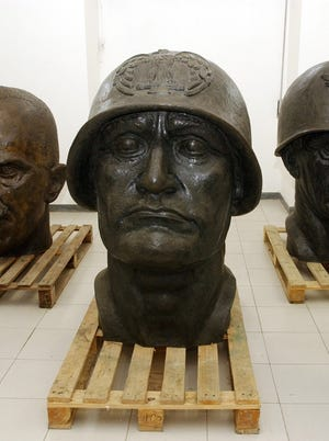 A bust of fascist leader Benito Mussolini stored in the basement of the EUR Spa offices in Rome.
