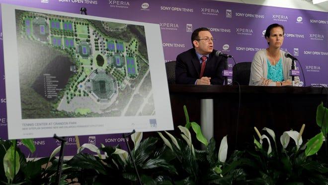 Sony Open tournament chairman Adam B. Barrett, left, talks about plans for Crandon Park Tennis Center renovations.